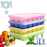 4 Stück Eiswürfelform Silikon Eiswürfelbehälter,BPA frei Eiswürfel Form - Eiswuerfelbehaelter Mit Deckel, 15 Würfel Eiswürfelschalen für Familie, Babynahrung, Partys und Bars