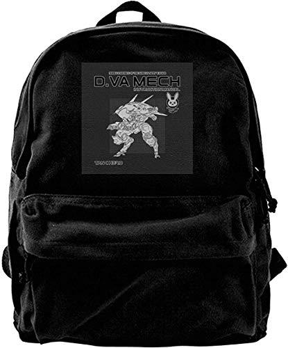 Yuanmeiju Canvas Backpack D Va Mech Instruction Manual Ov-erwatch Rucksack Gym Hiking Laptop Shoulder Bag Daypack for Men Women