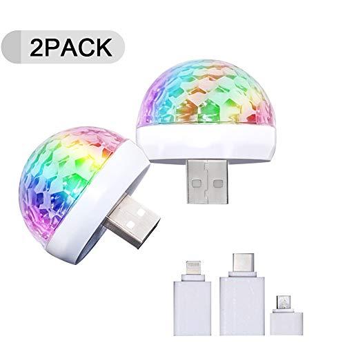 2PACK USB Mini Disco Ball Light, Sound Activated Party Lights Dj Strobe Light for Home Room Parties,Karaoke,Wedding,Birthday DJ Bar,Led Car USB Atmosphere Light