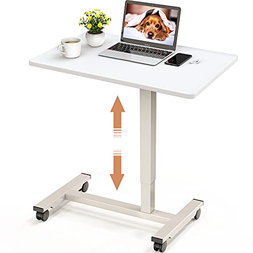 Mobile Standing Desk 27 inch Pneumatic Height Adjustable Home Office Desk Space Saving Writing Workstation Rolling Desk Cart Gas Spring Assist Laptop Table with Lockable Wheels by STOREMIC (White)