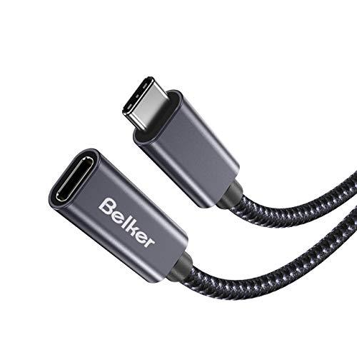 Belkertech USB C Verlangerungskabel Typ C Stecker auf Buchse Thunderbolt 3 Verlangerungskabel USB 31 10 Gbps LadenSync 4K VideoAudio Verlangerungskabel fur MacBook Pro 20162017 1M