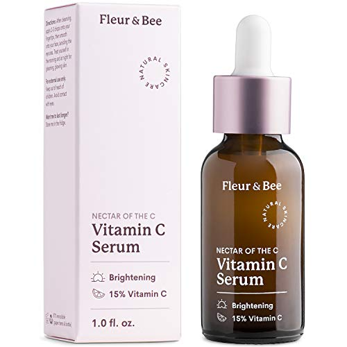 Natural Vitamin C Serum for Face - 15% with Ferulic Acid, Vitamin E - Anti Aging, Reduce Appearance of Wrinkles, Dark Age Spots, Lines - Dermatologist Tested - Nectar of the C by Fleur & Bee (1 Fl Oz)