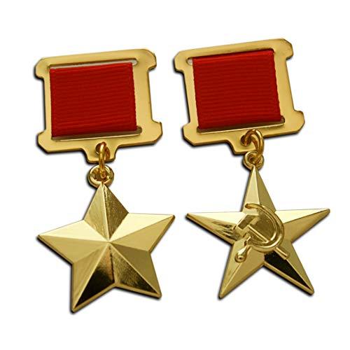 Trikoty Hero der Sowjetunion + Hero of The Socialist Labour Gold Star Höchste sowjetische Medaille Award für Heldentaten, Reproduktion des 2. Weltkriegs
