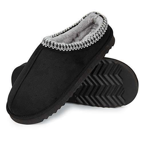 Dunlop Zapatillas Casa Hombre, Zapatillas Hombre Interior Forro Polar, Pantuflas Hombre Suela Antideslizante, Regalos Originales para Hombre y Adolescentes (43, Negro, Numeric_43)