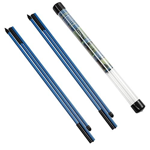 Rhino Valley Golf Alignment Sticks Richtungsanzeige, 2 Stück Klappbar Golfübungsstangen mit Durchsichtigem Aufbewahrungsrohr, Tragbar Golf Ausrichtungsstab zum Zielen Putten Trainer, Blau