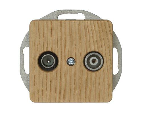 Kopp 917030088 Milano Eiche-Natur Antennensteckdose mit zwei Ausgängen, TV/RF, Einzel- und Durchgangsdose