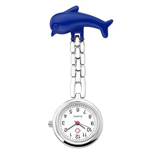 JSDDE Uhren, Krankenschwester FOB Uhr Pulsuhr Ketteuhr Schwesternuhr Quarz Taschenuhr Cartoon Delphin Krankenschwester Pflegeruhr Blau