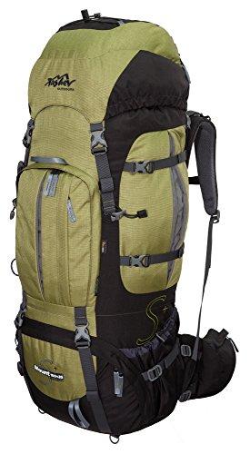 Tashev Outdoors Mount S+ Trekkingrucksack Front und Toplader Wanderrucksack Damen Herren Backpacker Rucksack groß 100l Plus 20l mit Regenschutz (Hergestellt in EU) (Grün)