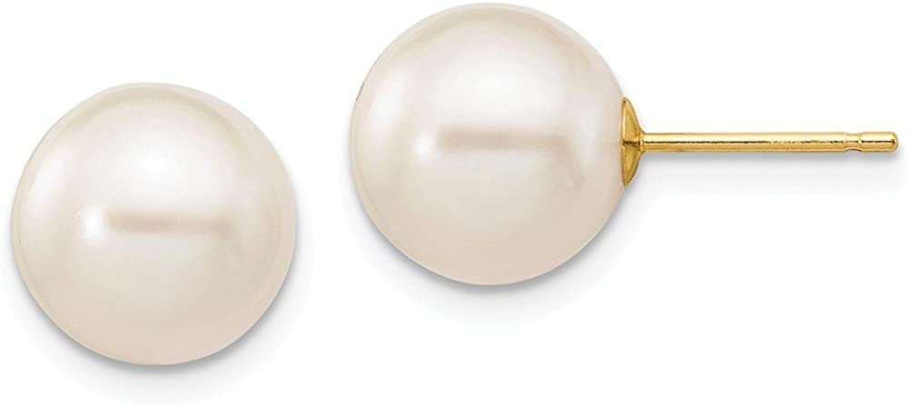 14k Yellow Gold 10mm White Round Freshwater Cultured Pearl Stud Post Earrings Ball Button Fine Jewelry For Women Gifts For Her