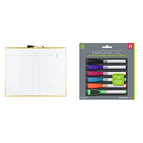 U Brands Magnetic Monthly Calendar Dry Erase Board, 20 x 16 Inches, Gold Aluminum Frame & Low Odor Magnetic Dry Erase Markers with Erasers, Medium Point, Assorted Colors, 6-Count - 520U06-24