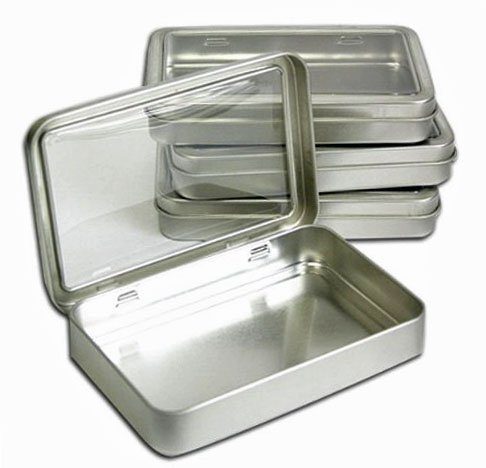 "Clear Top Metal Tin Box 7oz Plain Silver Hinged Blank Storage Case, Crafts, Survival Kit Tins 5.5""x3.5"" (4X)"