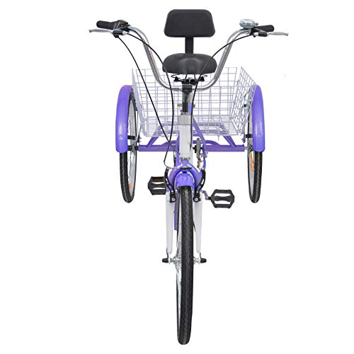 MOPHOTO Adult Tricycles 7 Speed 24/26 Inch Three Wheel Bike Cruiser Trike with Low-Step Through Frame/Large Basket/Backrest Saddle for Men, Women, Seniors (Purple, 24