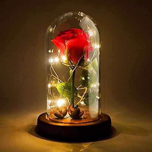 Jieway La Bella y la Bestia Flor de ensueño Rosa roja con...