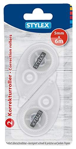 STYLEX 31039 - Correctieroller, bandbreedte 5 mm, bandlengte 6 m, onmiddellijk overschrijfbaar, corrigeert snel en nauwkeurig op elk papier, 2 stuks