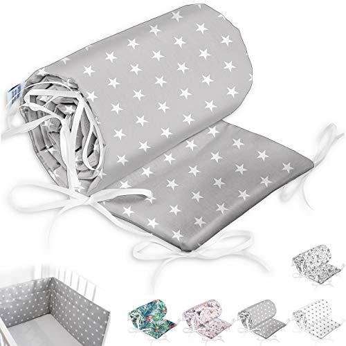 Bettumrandung Nest Kopfschutz Nestchen Babybettumrandung Bettnestchen für Babybett 70x140, 60x120 Kinderbett Beistellbett Gitterbett Handmade ekmTRADE (180x30cm, 1)