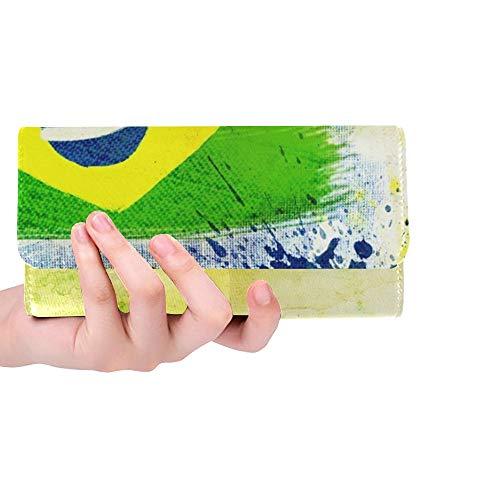 Balón de fútbol Vintage Personalizado único Brasil 2014 Cartera Triple para Mujer Monedero Largo Titular de la Tarjeta de crédito Estuche Bolso