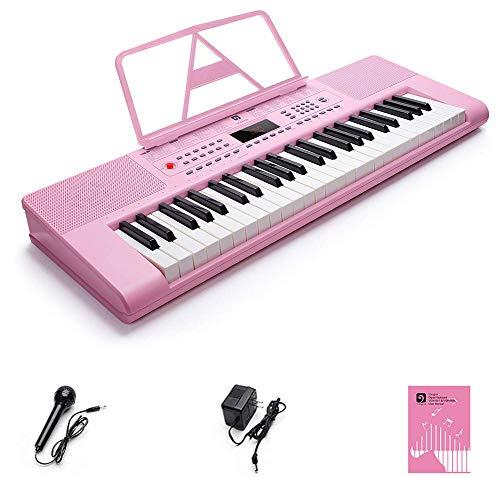 Vangoa Elektronische Klaviertastatur 49 Schlüssel Tragbarer Home Keyboard für Anfänger, mit 200 Töne, 200 Rhythmen, 50 Demos, Rosa