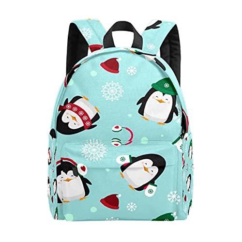 Cartoon Christmas-Penguins-Cute-Snowflake-Animal-Bird-Green Leisure Backpack,One Size