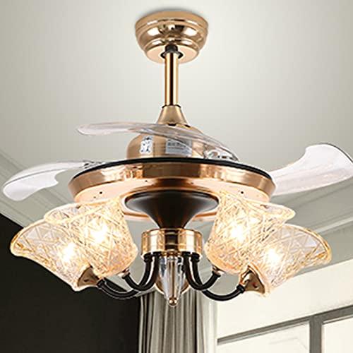 Luz de Ventilador de Techo de Cristal Moderna Lámparas de Araña de Cromo de 8 Luces con Tulipa de Cristal Tallado y 4 Palas de ABS para Dormitorio (Color : 5 lights)