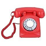 Telefono fisso retrò con design rotativo,telefono classico vecchio stile con doppio sistema Fsk/Dtmf,telefono fisso vintage con suoneria meccanica per camera da letto casa ufficio (rosso/giallo)(1#)