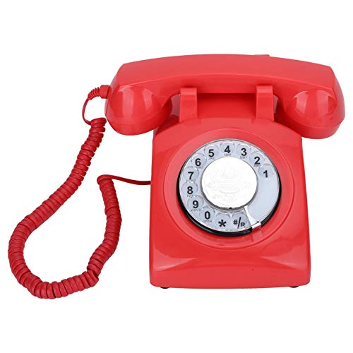 Goshyda Teléfono Fijo, CT-N8019 Teléfono Antiguo Fijo Fijo con dial Giratorio, para escritorios, Salas de Estar, dormitorios, hoteles, decoración de oficinas(Rojo)