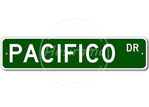 HALEY GAINES Pacifico Street Placa Cartel Póster de Pared Metal Vintage Cartel de Chapa Decorativas Hojalata Signo para Bar Café Cocinas Los
