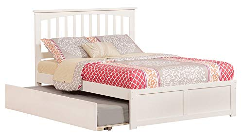 Atlantic Furniture Misson Platform Bed with Flat Panel Footboard and Twin Size Urban Trundle, Full, White
