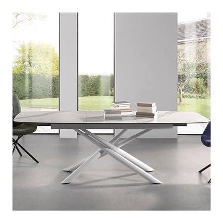 NOUVOMEUBLE Table Blanche en céramique Effet marbre avec rallonge ESCANOR
