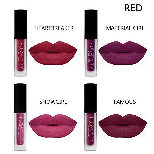 4 Farben Matte Lippenstift Set,Wasserdichte Langlebige Matte Flüssigkeit Lipgloss, Farbecht Moisturizing Lipstick Lippenstift,Langlebige Samt Liquid Lipstick Lippenstift