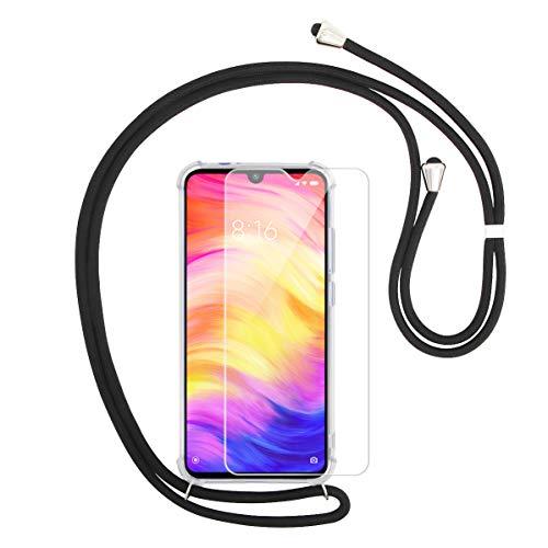 Annhao Funda Xiaomi Redmi Note 7 + Vidrio Templado, Transparente TPU Carcasa con Cuerda para Colgar y Anti Golpes Suave Silicona Delgado Carcasa Anti-Rasguños Protector Case para Redmi Note 7