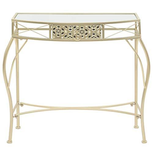 Festnight Table d'appoint Table en Bois avec Un Tiroir en Style Français Métal 82 x 39 x 76 cm Doré