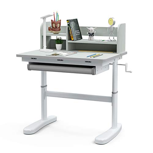 mecor Height Adjustable Kids Desk, Children Study Table for School Students with LED Light, Bookshelf and Drawer Storage, Ergonomic Desktop for Writing, Drawing and Painting (Grey)