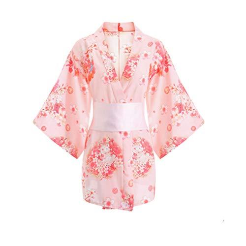 Pijama de verano para mujer, estilo kimono, yukata japonés, para cosplay, camisón uniforme (rosa)