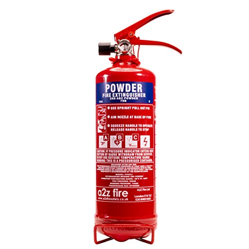 2kg Powder Fire Extinguisher Home Premium A2Z Fire Model - BS EN3 & CE Approved, BSi Kitemarked - Fire Rating 13A 70B C & Electrical