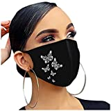 Women Face_Mask Reusable Washable with 1 PC Filter- Flash Diamond Rhinestone Butterfly Print Bandanas (1 PC+1 PC Filter, A)