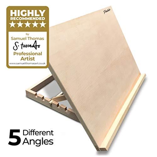 Atril/mesa/caballete para escritorio de madera ajustable tamaño A2 para trabajos de arte y artesanía de PABLO