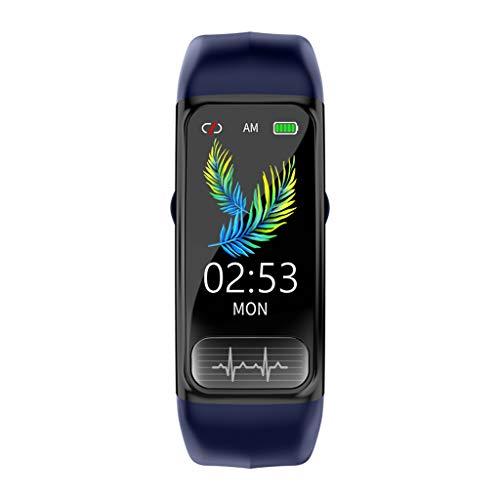 Smartwatch ECG,Monitor de presión Arterial,frecuencia cardíaca de oxígeno en Sangre,recordatorio de información de Software Social,Alarma,Reloj de Ejercicio de Salud para Unisex,Pulsera (Azul)