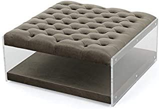 Christopher Knight Home Living Magellan Clear Acrylic Tufted Cover New Velvet Ottoman (Grey)