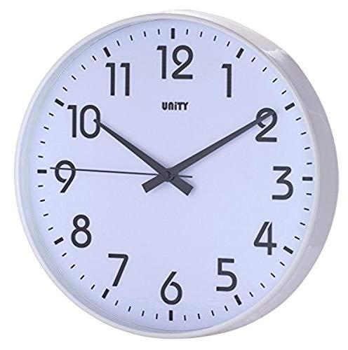 Unity, Fradley, orologio da parete, 22 cm, silenzioso, moderno, nero, 30 x 30 x 5 cm (Bianco)