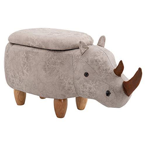 HOMCOM Rhino Storage Stool Cute Decoration Footrest Wood Frame Legs w/Padding Lid Ottoman Animal Furniture Grey 36x70cm
