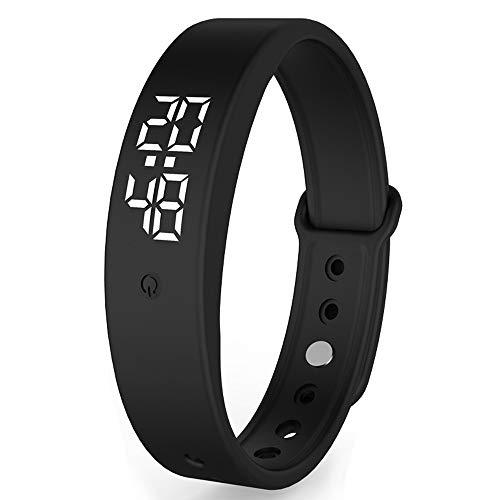 Dewanxin V9 Smart Armband mit Temperatur messen, Thermometer, mit Genauigkeit Körpertemperatur Anzeige Zeit Anzeige Smartwatch (Schwarz)