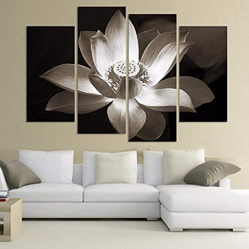 RuYun Stampe su Tela Poster Parete modulare 4P Fiore di Loto Bianco e Nero Immagine Decorazione della casa Soggiorno Quadri Moderni 30x60cm (x2) _30x80cm (x2) _No_Frame