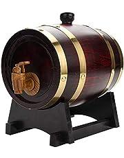 nologo Dispensador de Cerveza,Oak Barrel - Vintage Wood Oak Dispensador de Vino Timber Wine Barrel para Vino Cerveza Licores Whisky Rum Port Storage 1.5L/3L/5L/10L(1.5L)