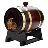 Oak Wine Barrel Red Wine Dispenser, 1.5 Liters Vintage Oak Timber Wine Barrel Dispenser for Whiskey Beer Wine Bourbon Tequila Rum & More, Wine red