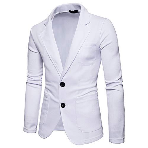 Mr.BaoLong&Miss.GO Men Suit European Size Solid Color Suit Casual 2 Buttons Single Row Slim Fit Men Small Suit Men Thin Suit Jacket Top White