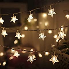 High Quality: 100 LED 49 FT star shaped string lights with solid construction plastic material, adapter powered. 29V low voltage string lights with UL 588 certified for safety use. Length between lights : 3.9 Inches/ 10cm, power line: 5m/16.5ft. ligh...