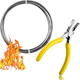 10 Feet High Temp Wire Nichrome Heat Resistant Wire 17 Gauge General Purpose Support Wire with 1 Mini Plier