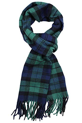 Achillea Soft & Warm Tartan Plaid Checked Cashmere Feel Winter Scarf Unisex (Black Watch Tartan)