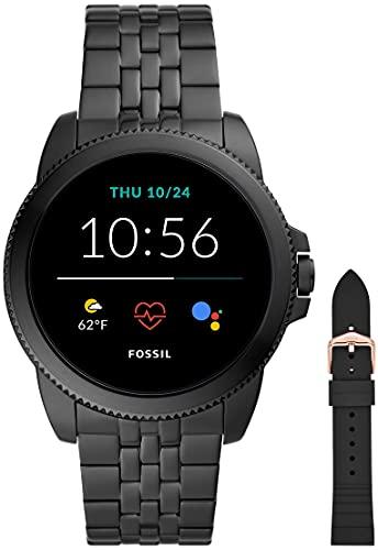Fossil Connected Smartwatch Gen 5e para Hombre con tecnología Wear OS de Google, frecuencia cardíaca, Acero Inoxidable Negro + Correa de Reloj S181369, Negro (Silicona Negra)