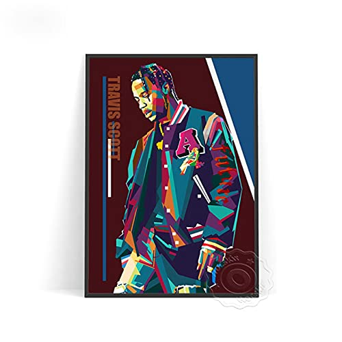 lubenwei Travis Scott Poster Travis Art Prints Scott Wall Decor Star Poster Music Poster Wall Picture Vintage Art (AU-981) 50x70cm Nessuna Cornice
